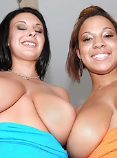 Two hot babes with huge natural tits fuck one dude each chick have thick as body huge tits and love pussy and dick three some my friends