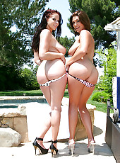 The hottest duo of amazing huge boobs and bikini bodies get fucked hard by the pool guy  in these hot 3some fucking update