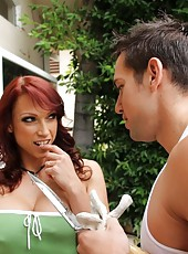 Sexy redhead MILF fucks her son