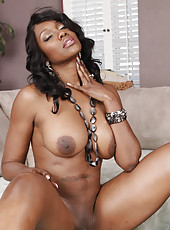 Gorgeous busty ebony Nyomi Banxxx has intense rough sex with one of her son