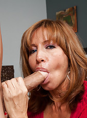 Hot redhead MILF seduces one of her sons friends and they have intense rough sex.
