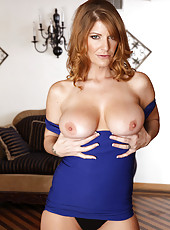Busty redhead MILF seduces one of her son