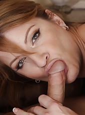 Busty redhead MILF seduces one of her son
