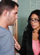 Sexy brunette teacher gets to fuck her student while no one is around.