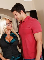 NIkita Von James is a hot teacher who fucks her student on her desk so she does not get in trouble.