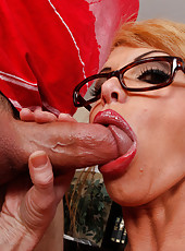 Horny Taylor Wane fucks and sucks a huge dick.
