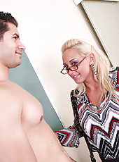 Teacher Miss Serena Marcus teaches her lazy student a lesson by fucking and sucking his hard cock.