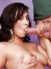 Hot latina babe Reena Sky sucks big cock before getting fucked and having hot sex.