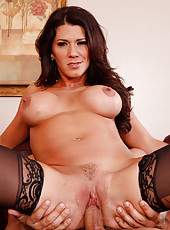 Sexy cougar babe Leena Sky has hot sex with big cock.