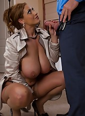 Busty big breasted cougar seduces younger cock to fuck.