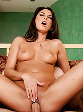 Gorgeous brunette cougar is horny and seduces big cocked guy into fucking her wet pussy and making her orgasm.