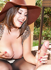 Big natural titty babe selena gets fucked hard then jerks the cock all over her face and mega hot tits