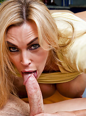 Sexy blond mom sucks dick and loves to get fucked