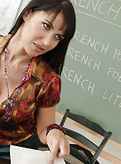 Horny teacher Eva Karera fucks and sucks her students big dick.