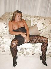 Kinky blonde wife posing in lingerie