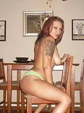 Topless amateur curvy tattooed MILF