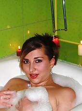 Gorgeous sexy MILF in the bath tub