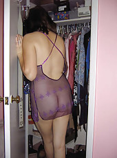 MILF in her purple lingerie