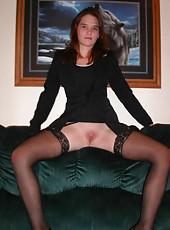 Kinky MILF in black stockings