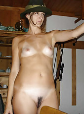 Naked wife poses