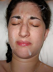 Pretty wife gets cum facial
