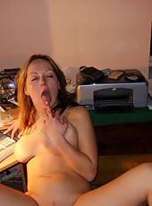 Slutty blonde MILF naked inside office