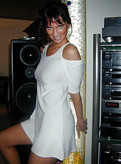 Playful brunette housewife without panties