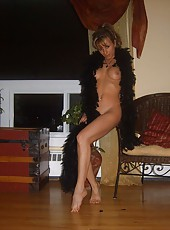 Raunchy blonde MILF getting naked
