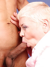 This old fatty's mouth is awesome and so are her juicy holes