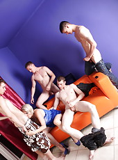 Mom's party with four boys ends up with a wild gangbang