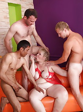 Boys team up to stretch every orifice on old hooker's body