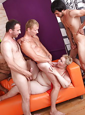 Boys team up to stretch every orifice on old hooker�s body