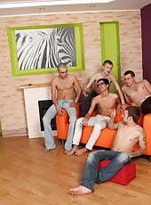 Chubby redhead�s last gangbang with five damn horny boys