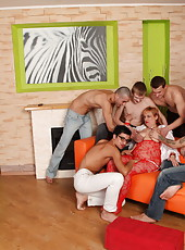 Chubby redhead's last gangbang with five damn horny boys