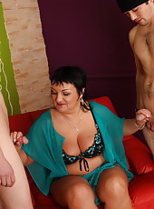 Boys filling chubby mama�s mouth and pussy with their cocks