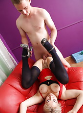Ripe beauty gets a spanking and a titty fuck with cumshot