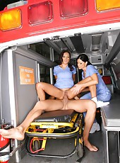 2 hot big tits nurses suck and fuck a patient in the ambulance check out these hot 3some fuck pics