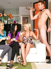 3 smoking hot milfs flirt and then fuck their big dong waiter in these hot masturbation and fucking pics