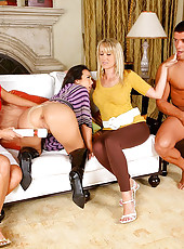 3 smoking hot long leg hot milfs teach eachother how to suck cock then get fucked hard by the sausage hot pics