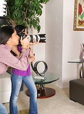 Check out these 2 amazing horny photographer milfs take advantage of their male model in these hot 3some cock fucking and masterbation pics