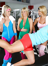 Hot kimberly and her milf girls tackle their gym instuctor and mastebate in front of him in these hot fucking and masterbation vids
