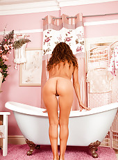 Anilos Chloe gets oiled up and naked in the tub