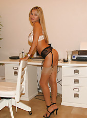 Rio in sexy stockings getting ready for a cam show