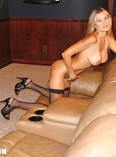Very hot blonde housewife Rio stripping down to her sexy black stockings