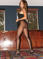 HotWifeRio lifting up her skirt and showing everyone her pantyhose and big tits