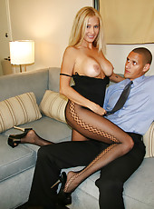 HotWifeRio in lace pantyhose sucking on a lucky members giant cock