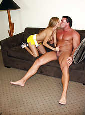 HotWifeRio hikes up her short skirt and sucks off a body builders huge cock