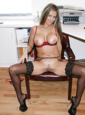 Rio spreads her sexy legs and shows off her pretty little pussy at work