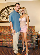 Rio meets one of her members from her website at a hotel and sucks his big cock