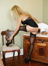 HotWifeRio blows a hard cock in her sexy black dress and stockings